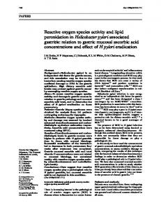 Reactive oxygen species activity and lipid peroxidation ... - Europe PMC