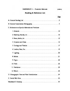 Reading & Reference List