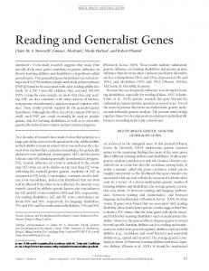 Reading and Generalist Genes - Wiley Online Library