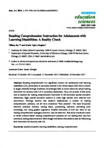 Reading Comprehension Instruction for Adolescents with ... - MDPI