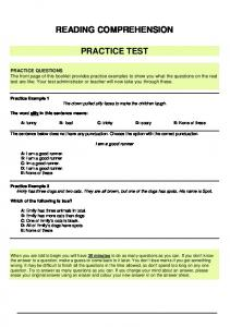Reading Comprehension practice test - Department of Education ...