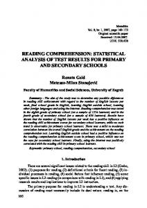READING COMPREHENSION: STATISTICAL ANALYSIS OF TEST ...