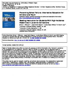 Reading Instruction for Students With High-Incidence