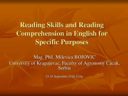 Reading Skills and Reading Comprehension in English for Specific ...
