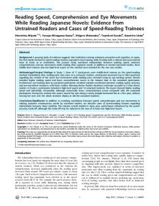 Reading Speed, Comprehension and Eye Movements ... - ScienceOpen