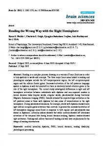 Reading the Wrong Way with the Right Hemisphere - MDPI