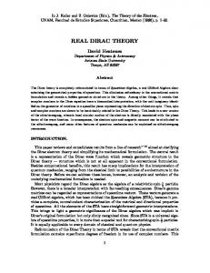 real dirac theory - David Hestenes