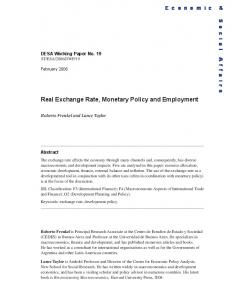 Real Exchange Rate, Monetary Policy and Employment