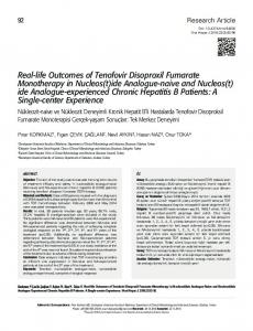 Real-life Outcomes of Tenofovir Disoproxil Fumarate Monotherapy in ...