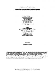 Real Options and Investment Mode: Evidence ... - papers in the SSRN