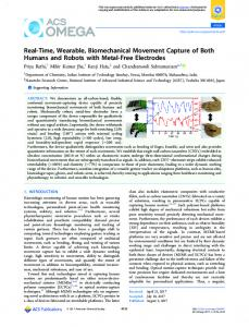 Real-Time, Wearable, Biomechanical Movement ... - ACS Publications