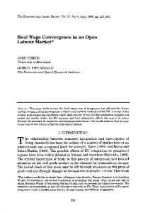 Real Wage Convergence in an Open Labour Market - TARA