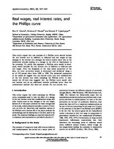 Real wages, real interest rates, and the Phillips curve