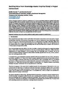 Realising Value From Knowledge Assets: Empirical Study in Project ...