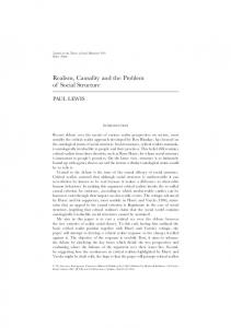 Realism, Causality and the Problem of Social ... - Wiley Online Library
