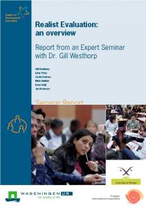 Realist Evaluation: an overview Seminar Report