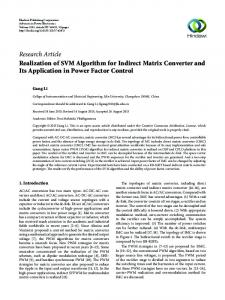 Realization of SVM Algorithm for Indirect Matrix Converter and Its ...