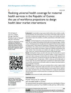Realizing universal health coverage for maternal health services in the