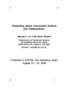 Reasoning about Concurrent Actions and ...