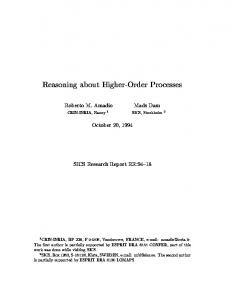 Reasoning about Higher-Order Processes - Semantic Scholar
