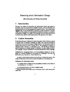 Reasoning about Information Change 1 ... - Semantic Scholar