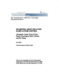 REASONING ABOUT RELATION BASED ACCESS ... - Unitn-eprints
