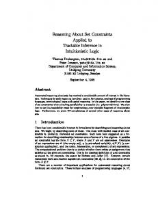 Reasoning About Set Constraints Applied to Tractable ... - CiteSeerX