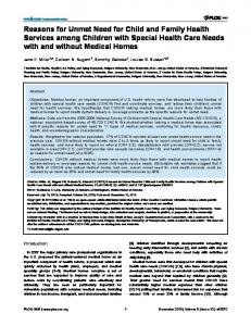 Reasons for Unmet Need for Child and Family Health Services among ...