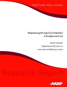 Reassessing the Age Discrimination in Employment Act