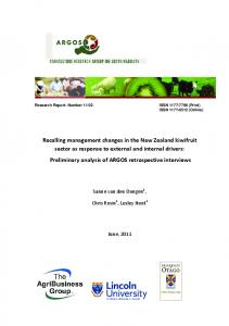 Recalling management changes in the New Zealand kiwifruit ... - Core