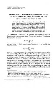 RECAPTURING A HOLOMORPHIC FUNCTION ON AN ANNULUS ...