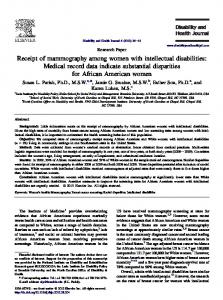 Receipt of mammography among women with intellectual disabilities ...