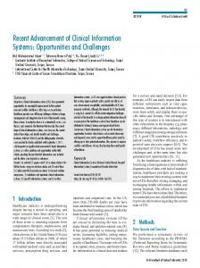 Recent Advancement of Clinical Information Systems: Opportunities