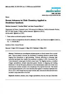 Recent Advances in Click Chemistry Applied to Dendrimer Synthesis