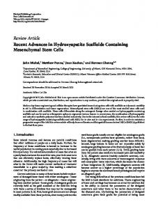 Recent Advances in Hydroxyapatite Scaffolds Containing ...