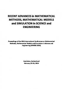 RECENT ADVANCES in MATHEMATICAL METHODS