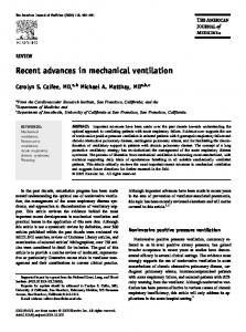 Recent advances in mechanical ventilation