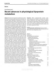 Recent advances in physiological lipoprotein metabolism
