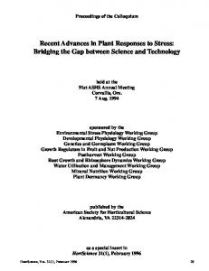 Recent Advances in Plant Responses to Stress ... - HortScience