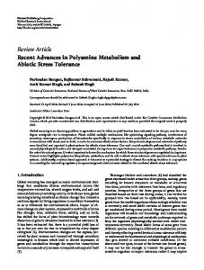 Recent Advances in Polyamine Metabolism and Abiotic Stress