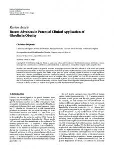 Recent Advances in Potential Clinical Application of Ghrelin in Obesity