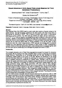 Recent Advances in SnO2 Based Photo anode