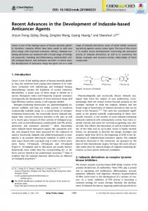 Recent Advances in the Development of Indazole