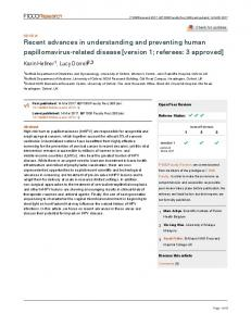 Recent advances in understanding and preventing ... - F1000Research