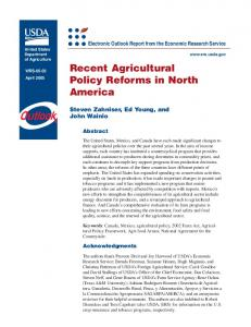 Recent Agricultural Policy Reforms in North America - USDA ERS