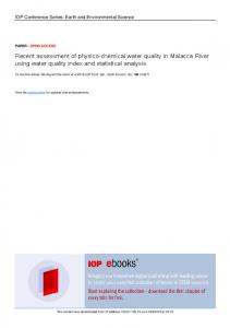 Recent assessment of physico chemical water quality