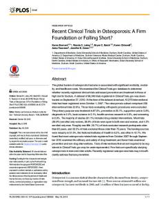 Recent Clinical Trials in Osteoporosis: A Firm Foundation or ... - PLOS