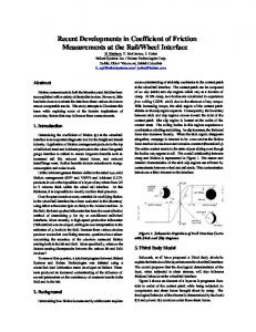 Recent Developments in Coefficient of Friction ...