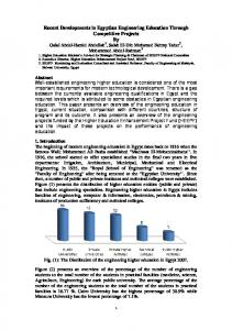Recent Developments in Egyptian Engineering Education Through ...
