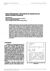 Recent Developments in Nanomaterials for Geotechnical and ...